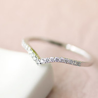 Simple Chevron Crystal Ring Jewelry Wedding Bridesmaid Gold Silver gift idea