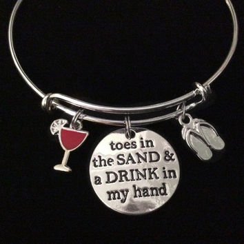 Toes In the Sand Drink in My Hand Expandable Charm Bracelet Adjustable Silver Bangle Gift