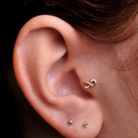 INFINITY / TRAGUS /  Cartilage stud / Ring / Yellow Gold Filled. Handcrafted