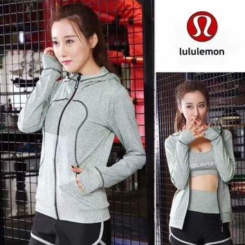 Lululemon Women Fashion Gym Yoga Hooded Cardigan Jacket Coat