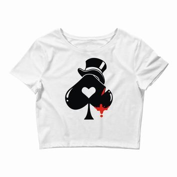 poker hat ace of spades Crop Top