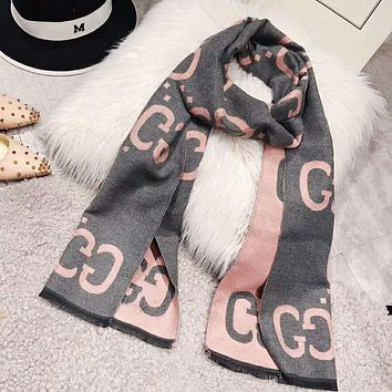 GUCCI Fashionable Women Men GG Jacquard Warm Cashmere Cape Scarf Scarves Shawl Accessories Grey