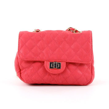 Quilted Cross-body Bag in Coral