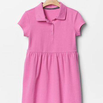 Gap Girls Solid Fit & Flare Polo Dress