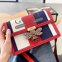 GUCCI New fashion bee letter stripe print leather shoulder bag crossbody bag