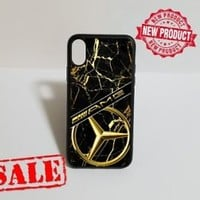 Mercedes Benz AMG Gold Marble Fit Hard Case For iPhone 6 6s 7 8 Plus X Cover +