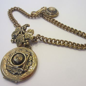Grape Motif Victorian Brass Locket Brooch Clip Double Link Chains