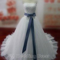 Real Sexy Strapless Wedding Dress with Sash Lace-up Bridal Gown Vestido De Noiva Ball Gown(sash can be in any color)