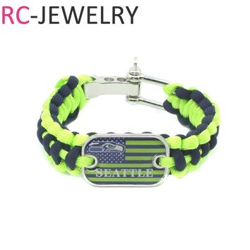 15# American Football Team Seattle Seahawks Survival Paracord Bracelet for Men for Sports Football Fans Gifts