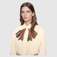 GUCCI Poplin shirt with Gucci stripe bow