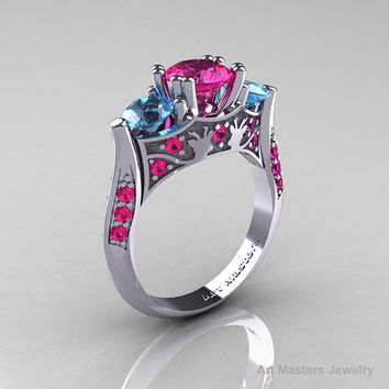 Nature Inspired 14K White Gold Three Stone Pink Sapphire Blue Topaz Solitaire Wedding Ring Y230-14KWGBTPS