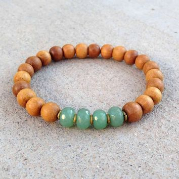 "Sandalwood and Aventurine ""Fourth Chakra"" Bracelet"