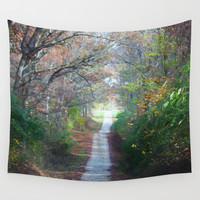 Country Road In The Fall Wall Tapestry by Theresa Campbell D'August Art