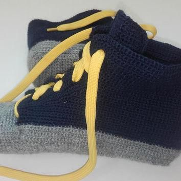 Wool socks, wool slippers, Men Converse Slippers, Crochet Sneakers, Converse Slippers,
