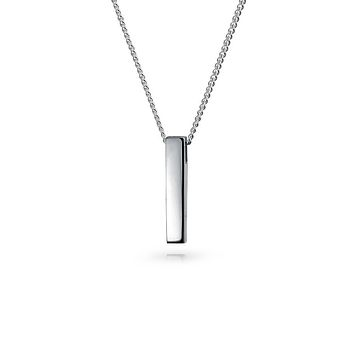 Silver Vertical Bar Layering Pendant Silver Plated Sterling Necklace