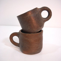 Antique Primitive Pottery Mugs Handmade Clay Cups