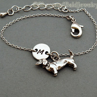 Daschund charm bracelet, Dachshund, Doxie, antique silver, initial bracelet, friendship, mothers, adjustable, monogram