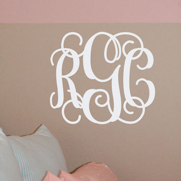 14x16 MONOGRAM Wall Decal (3 Initial Design) vinyl monogram letters (W00931)