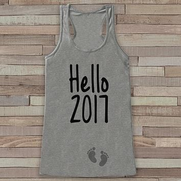 Hello 2017 Tank Top - Baby Feet Shirt - Womens Tank Top - Happy New Year Tank -  Grey Tank - Pregnancy Announcement - Baby Reveal Idea