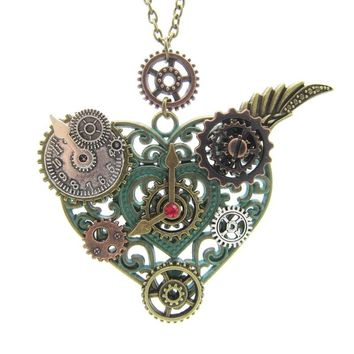 2017 Newest Style Nice Pattern Heart Pendant with Various Gears DIY Mechanical Steampunk Necklace Vintage Jewelry