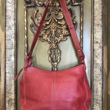 Valentine Red Leather Hand Bag Shoulder Massini Purse