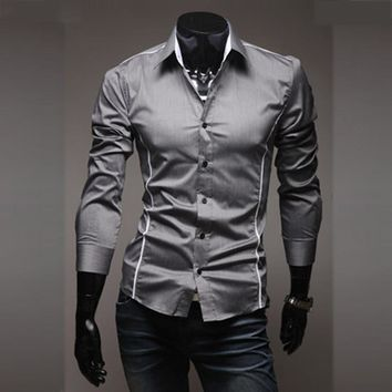 2018 New Mens Casual Shirts Slim Fit Long Sleeve Gray Male Striped Shirts Camisa Social Clothes Chemise Homme Plus Size M-3XL 50
