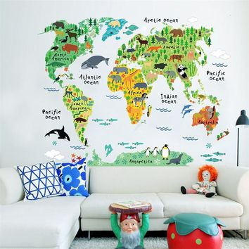 Animals World Map Home Decal wall Sticker For Kids Room & Nursery