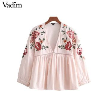 Vadim women sweet floral embroidery blouse V neck long sleeve pink shirts female casual streetwear cute loose tops blusas LA235