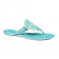 Jack Rogers Georgica Jelly Sandal- Caribbean Blue and Gold