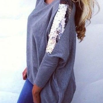 Grey Long Sleeve Sequined Blouse
