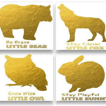 Set Of Four Nursery Wall Decor Prints,Digital Gold Foil Prints,Kids Wall Decor,Class Room Wall Decor,Nursery Art,Printable Art