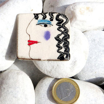 Black + White Woman - Ceramic Brooch Pin Jewelry Brooch Modern Ceramic Jewelry Unusual Brooch
