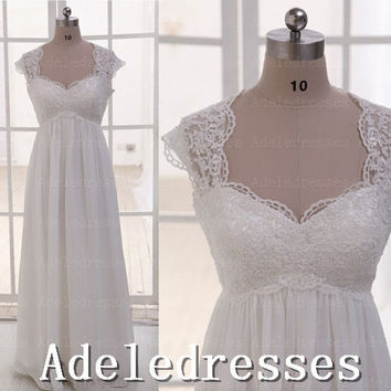 Hot Sales Cap sleeves Empire Waist Beach Wedding Dress,Ivory Lace Chiffon Pregnant Wedding Dress,See Through Maternity Dress,Long Prom Dress