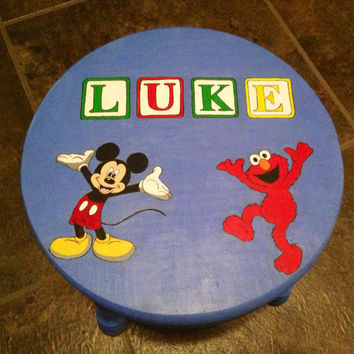 Custom, hand painted, children's wooden stool. Made to order.