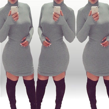 Grey Turtleneck Long Sleeves Curved Hem  Bodycon  Mini Dress