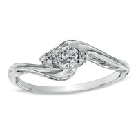 1/10 CT. T.W. Composite Diamond Bypass Promise Ring in Sterling Silver - Size 7 - View All Rings - Zales