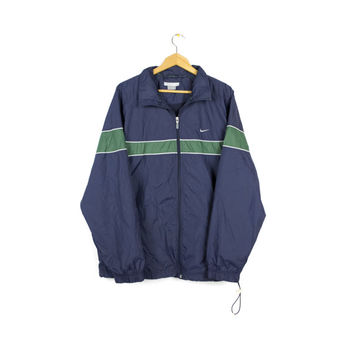 90s NIKE windbraker jacket / vintage 1990s / classic / retro / blue + green /
