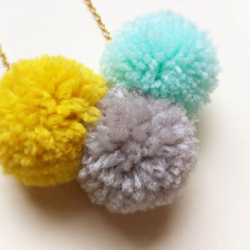 Neon Pom Pom Statement Necklace / Bright Summer Jewelry / Mustard Yellow, Gray, Aqua