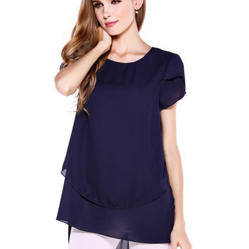 Short Sleeve Chiffon Tunic Top