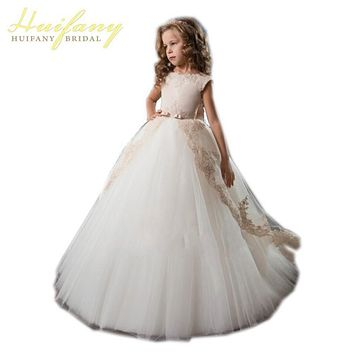Elegant Lace  Applique  Ball Gown Flower Girl Dresses with Bow Sash  First Communion Dresses For Girls Vestidos De Comunion