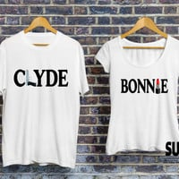 Bonnie Clyde tshirts, bonnie tshirt, clyde shirt, bonnie and clyde shirts, matching couple shirts, shirts for couples, bonnie clyde jerseys