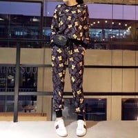 """Moschino"" Women Casual Fashion Letter Bear Cartoon Print Long Sleeve Trousers Set Two-Piece Sportswear"