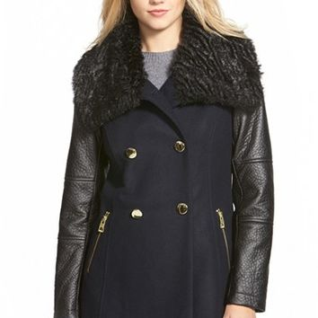 Women's GUESS Double Breasted Wool Blend Coat with Faux Fur & Faux Leather Trim,