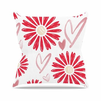 "Alison Coxon ""Hearts And Flowers"" Love Pink Outdoor Throw Pillow"