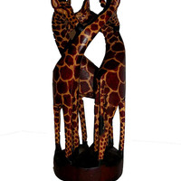 Wooden Statue of 3 Giraffes  FREE SHIPPING