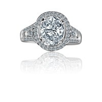 2.5 CT. Intensley Radiant Oval Diamond Veneer Split Shank Floating Halo Set in Sterling Silver Engagement/Wedding Ring. 635R4011