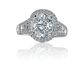 2.5 CT. Intensley Radiant Oval Diamond Veneer Cubic Zirconia Split Shank Floating Halo Set in Sterling Silver Engagement/Wedding Ring. 635R4011