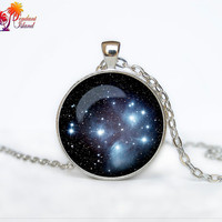 Pleiades star cluster Pendant Pleiades star cluster Necklace Galaxy necklace Space universe pendant Necklace for him Art Gifts for Her