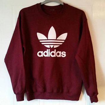 shosouvenir £º Adidas Burgundy Fashion Casual Long Sleeve Sport Top Sweater Pullover Sw