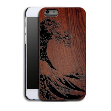 Fuji Oceanic Islands Waves Luxury Carved Wood Hard Wooden Protector Back Case Cover for Apple iPhone 5s/SE/6/6 plus&Samsung Gala